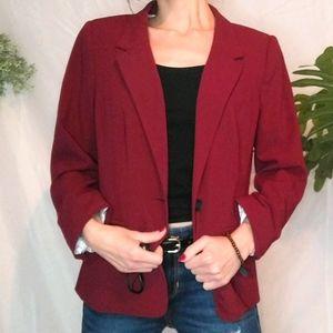 Kensie Rebekah Stretch Crepe Blazer in Maroon